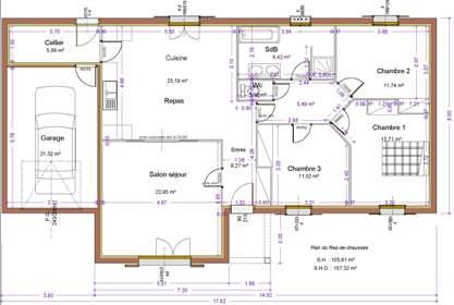 Maison st ly maitre d 39 oeuvre dessin plan permis for Plan habitation