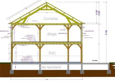 Exemples de r alisations maitre d 39 oeuvre dessin plan for Plan de coupe d une maison