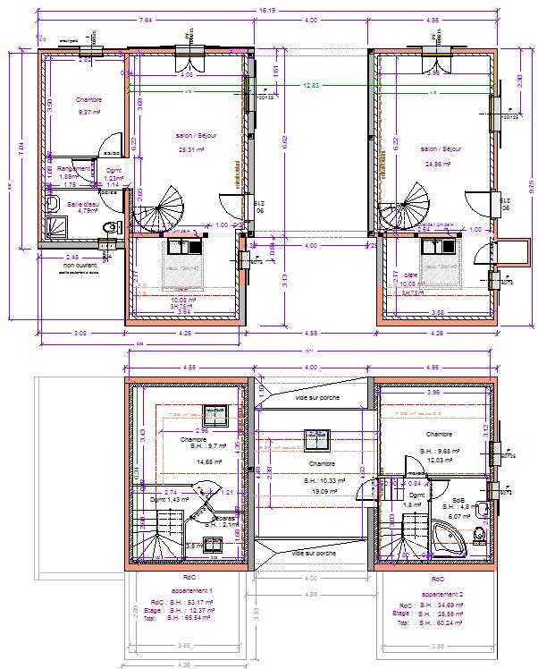 Grange st germain maitre d 39 oeuvre dessin plan permis for Plan maison de maitre
