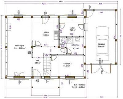 Exemples de r alisations maitre d 39 oeuvre dessin plan for Conception de croquis de plan de maison